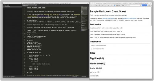 sublime text2 + markdown prevew plugin